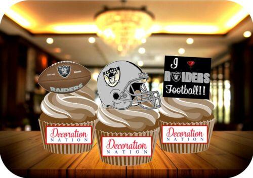 Football Américain Oakland Raiders Trio MIX 12 comestibles Standup Cake Topper Sport
