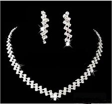 NEW Diamante Elegant necklace Earring set Bride Prom Party Wedding Jewellery UK