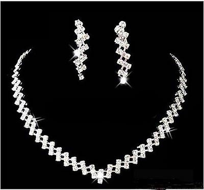 NEW Diamant Elegant necklace Earring set Bride Christmas Party Wedding Jewellery