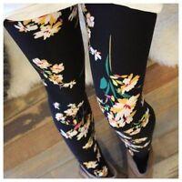 Plus Size Yellow Floral Leggings Flowers Printed Super Soft Curvy Plus