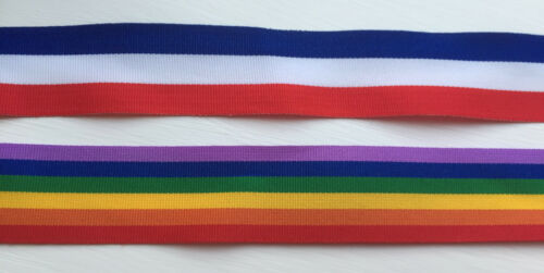 BLUE FAILLE RIBBON REEL CHIC 25mm RAINBOW OR TRI COLOR RED WHITE