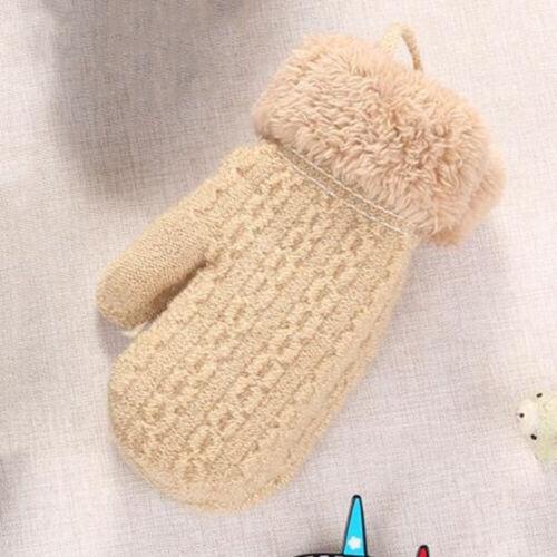 2-4Y Toddler Baby Outdoor Winter Patchwork Keep Warm Mittens Boys Girls Gloves