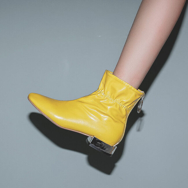 Booties boots heel square yellow 3 cm cm comfortable like leather 1729