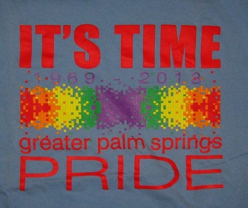 Palm Springs CA 2013 Gay Pride Tee - LGBT Queer California Volunteer T Shirt XLg