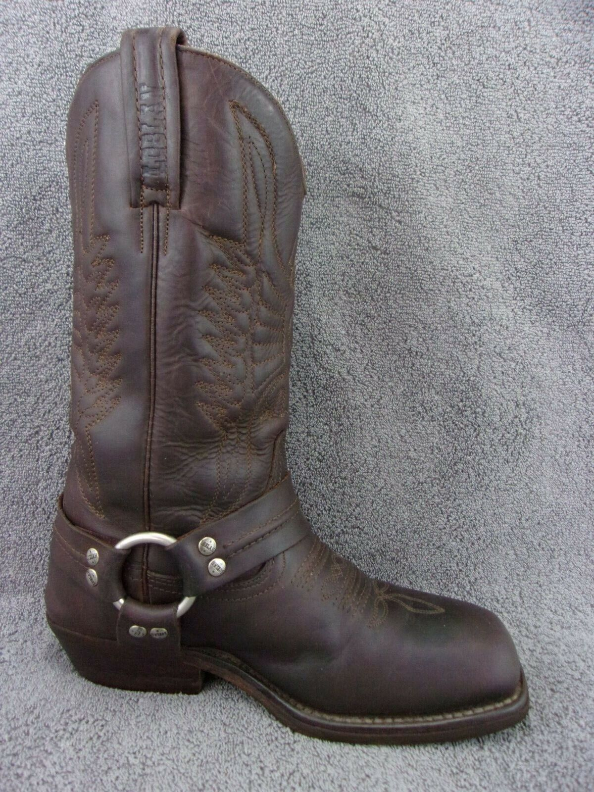 Loblan handcrafted brown leather biker harness square toe womens boot 7