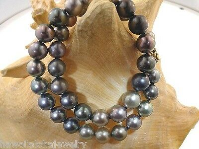 """10-11.8mm Graduated Mixed """"A"""" Tahitian Black Pearl 14k Yellow Gold Necklace 18"""""""