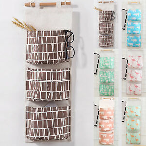 Details about 3 Pockets Storage Hanging Bag Canvas Pouch Tidy Dorm Wall  Door Socks Organizer