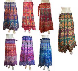 Rapron-Indian-Cotton-Women-Ethnic-Floral-Printed-Long-Skirt-Wrap-Around-New
