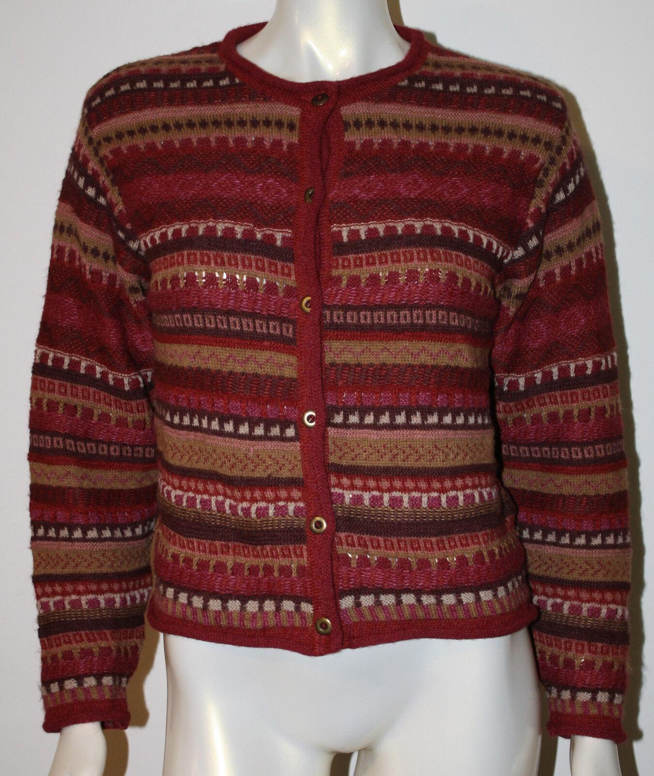 ALPACA 111 Pink Tan Geometric Weave Alpaca Wool Cardigan Sweater Peru M L