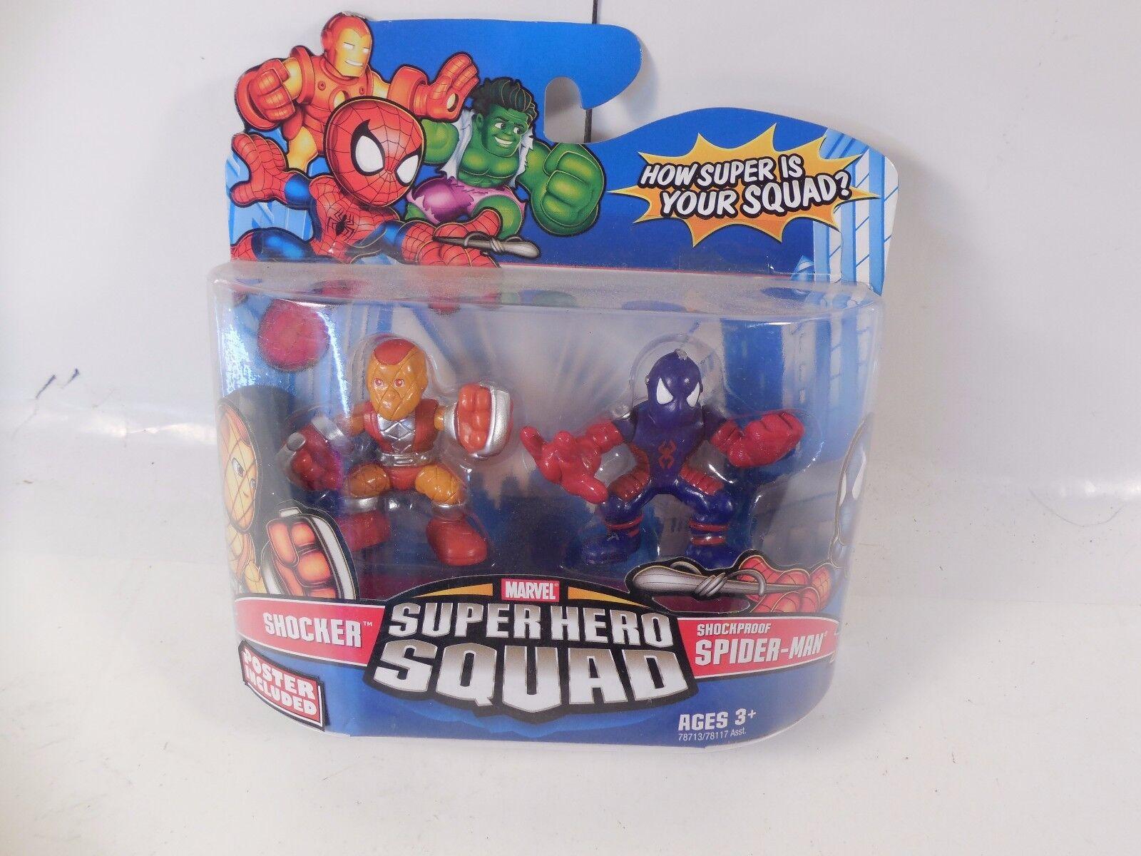MARVEL SUPER HERO SQUAD SHOCKPROOF SPIDER-MAN & SHOCKER FIGURE Verpackung SEALED MOC