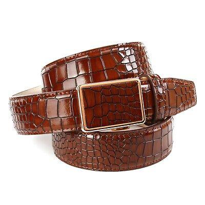 Anthoni Crown Designer Herren Ledergürtel mit Krokomuster schwarz Breite 3,5cm