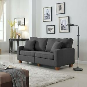 Details about Contemporary Modern Couch 73-inch Linen Fabric Loveseat Sofa  Wood Legs Dark Grey