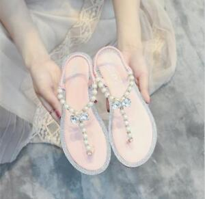 Women-Summer-Rhinestone-Bohemia-Shiny-Pearl-Flip-Flops-Sandals-Girls-Casual-New