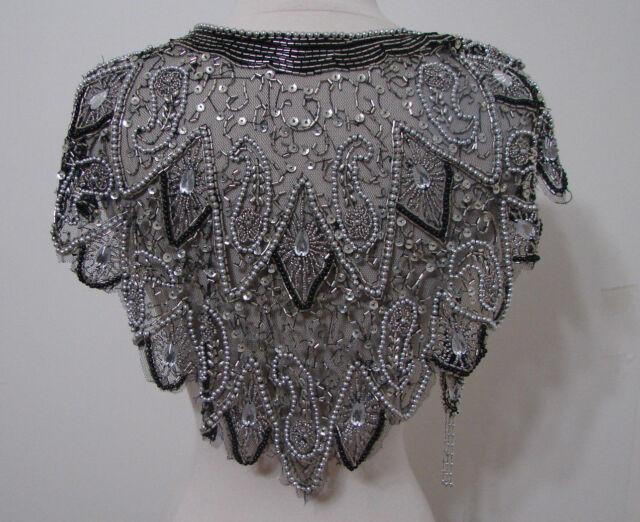 Black & Silver Beaded Shawl Wrap