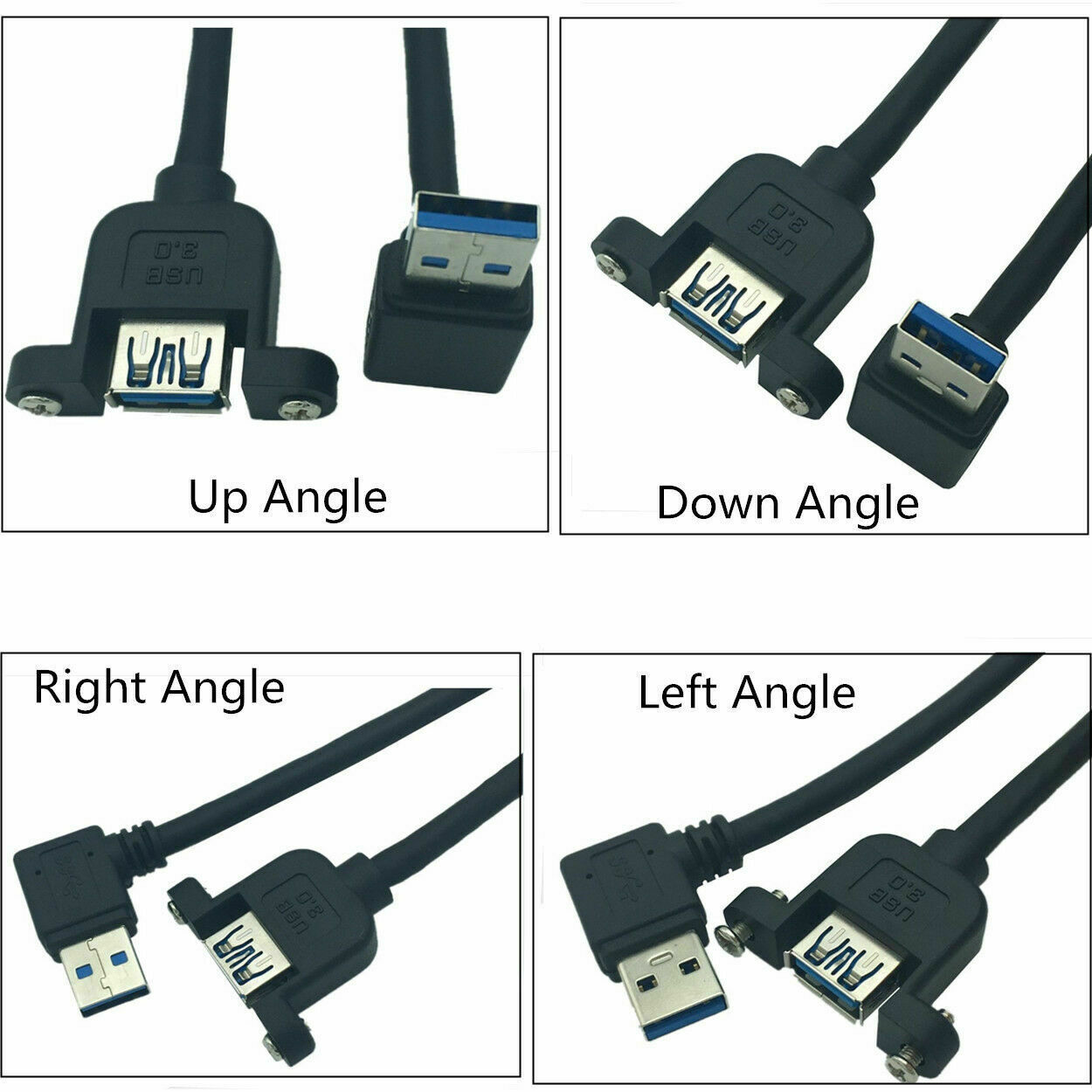 30cm 90Degree Angled USB 3.0 A Male to Female Extension Cable & Panel Mount Lock
