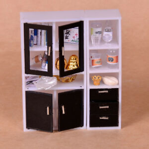 1-12-Dollhouse-Miniature-Furniture-Display-Cabinet-Bookshelf-Accessories-Set