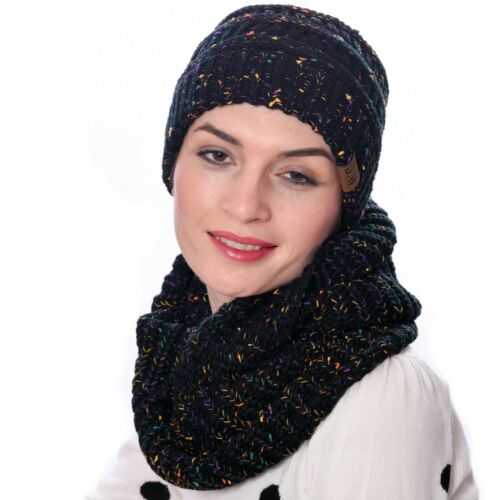 Womens Thick Knit Infinity Loop Scarf And Beanie Hat Set In 13 Colors