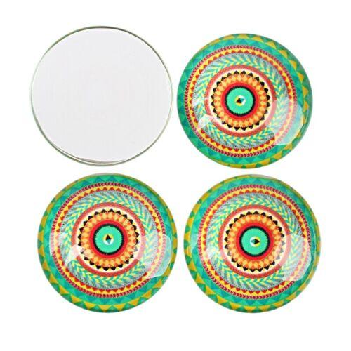 10 Glas Cabochon Mosaik Mix Set 25mm und für Fassung Bunte Glaskuppel R342