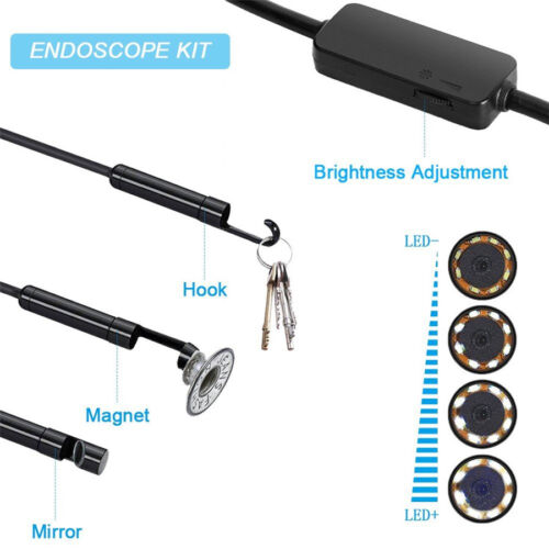 Semi-rigid 8mm Adjustable 8LED Motorcycle Bikes 3in1 USB Endoscope Borescope 2M