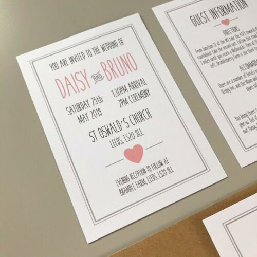 Rustic Pink /& Grey Wedding Invitations Day or Evening Personalised Invites Boho
