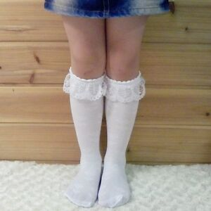 1 Pairs Baby Toddler Kids Girl Lace Trim Boot Knee High Socks School Socks 3-8Y