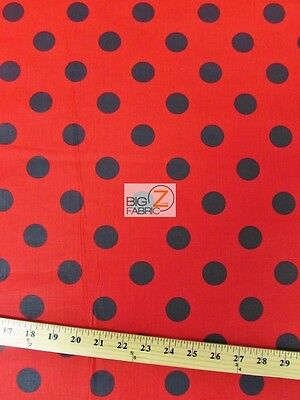 "BIG POLKA DOT POLY COTTON PRINT FABRIC-Red/Black-SOLD BTY POLYCOTTON 58/59""  P94"