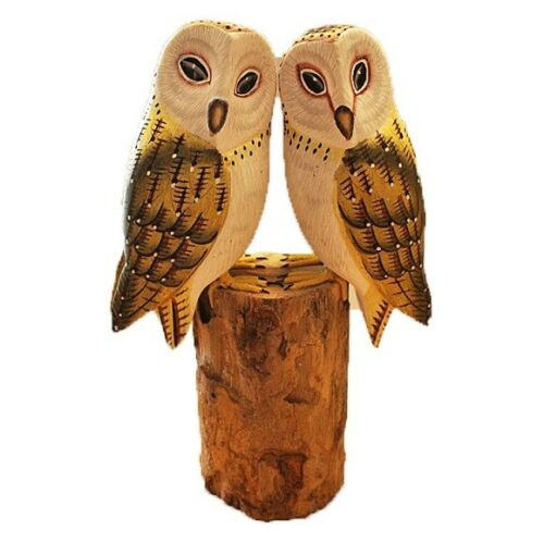 PAINTED Hibou Duo sur Bois Log 24 cm Ornement Figurine Home Decor