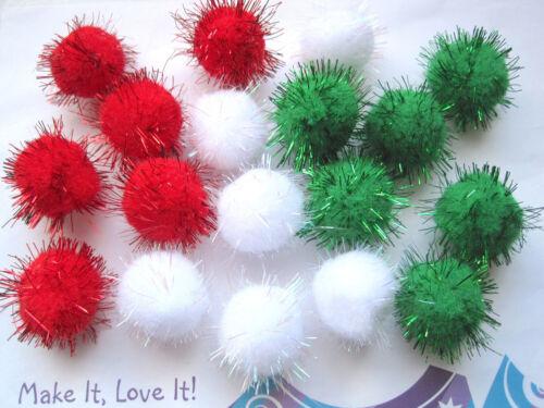 12 or 18 PLUSH GLITTER FLUFFY POM POMS XMAS Craft Snow Balls Soft Felt RED GREEN