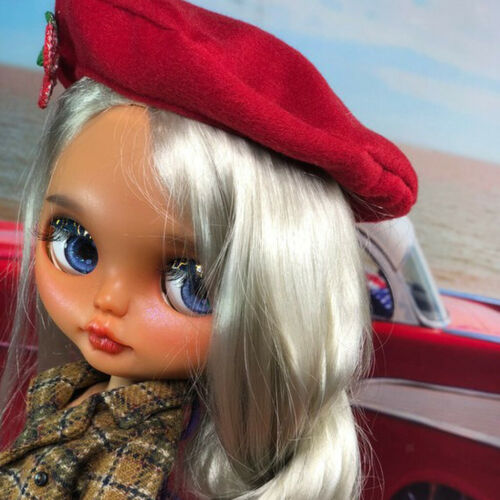 Vintage Beret Hat Cap with Cherry Accessories for 1//6 Blythe Doll Dress Up