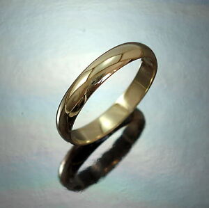 New-9ct-Yellow-Gold-Heavy-D-Shape-4mm-Wedding-Band-Ring-Jewellery-Various-Size