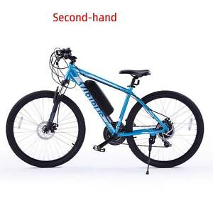 Secondhand 21 Speed Electric Mountain Bike w Dual Disc Brake and Adjustable Seat