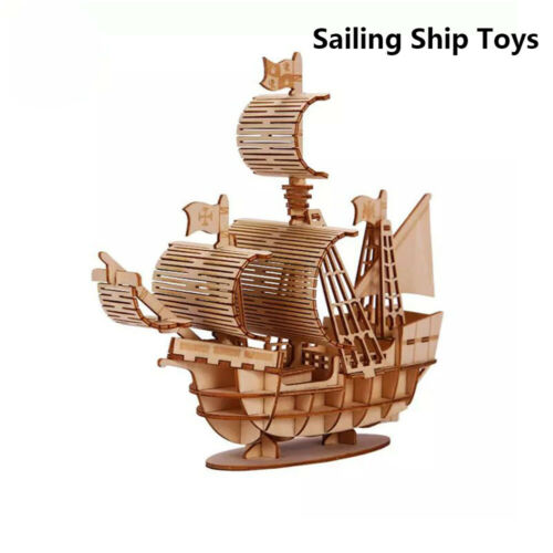 Sailing Ship Toys 3D Wooden Puzzle Toy Assembly Model Wood Craft Kits Desk DIY