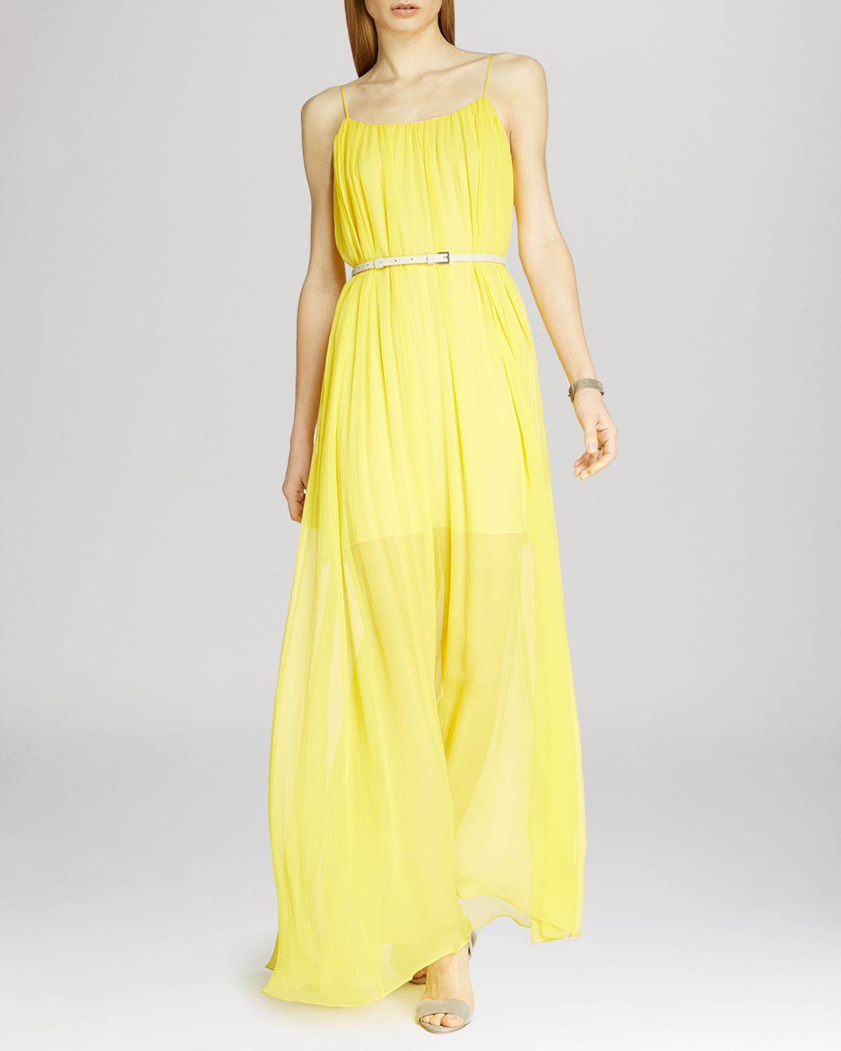 HALSTON HERITAGE  Belted Sheer Overlay Maxi Robe ( Taille M)