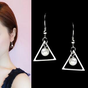 Damen-Ohrhaenger-Dreieck-Perlen-echt-Sterling-Silber-925-Ohrringe