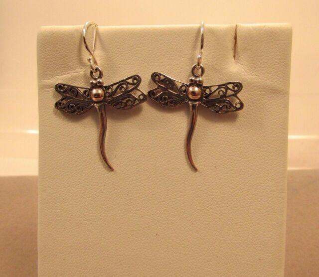 Dragonfly 925 Sterling Sliver Dangle Hook Earrings