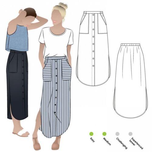 FP Free UK P/&P MLKW019-M Style Arc Sewing Pattern Indigo Maxi Skirt