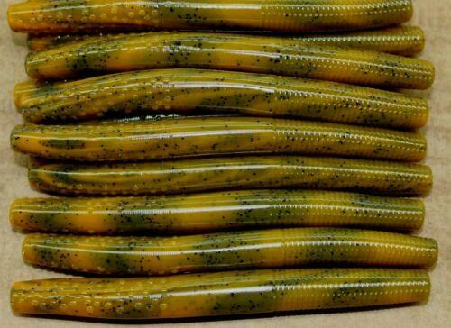 "4/"" Finesse Stick Craw Orange Swirl Ned Rig Type Floating Worm 50 pack Bulk"