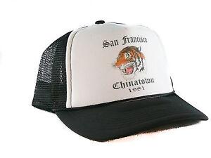 Vintage 1981 San Francisco Chinatown Trucker Hat mesh hat snapback hat Black