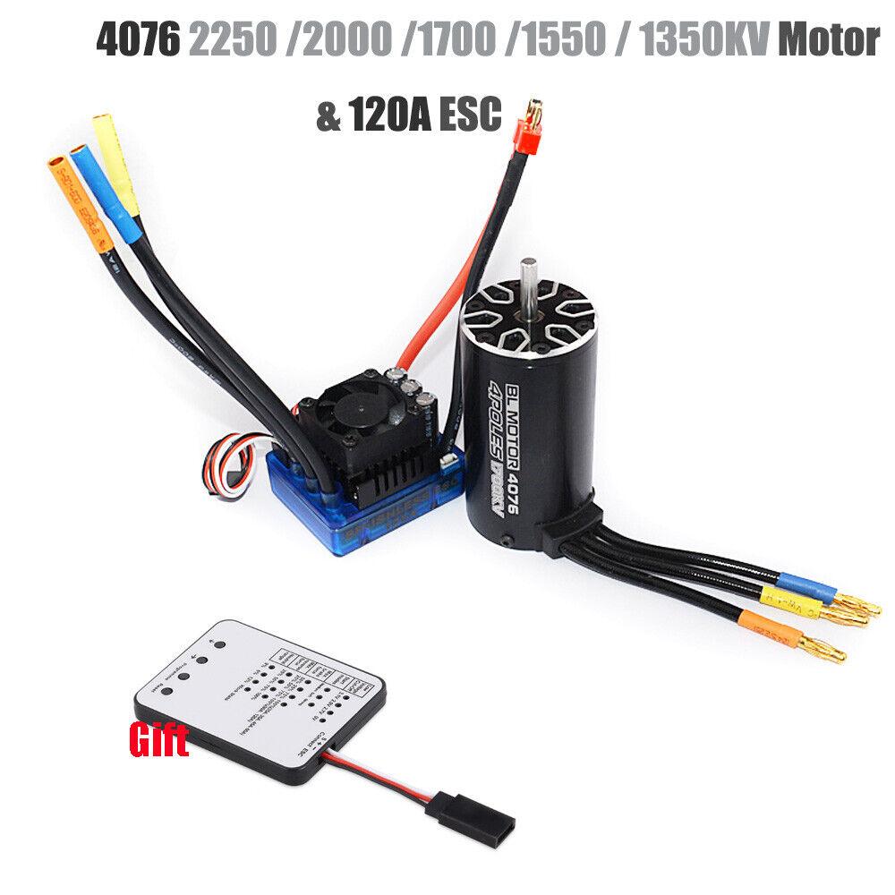 4076 Sensorless motor sin escobillas 120A tarjeta de programación Esc Con Led Combo Set