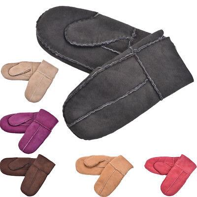 Kids Soft Genuine Sheepskin Gloves Childrens