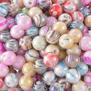 300-Mix-Acryl-Rund-Streifen-Spacer-Perlen-Beads-Kugeln-Basteln-8mm