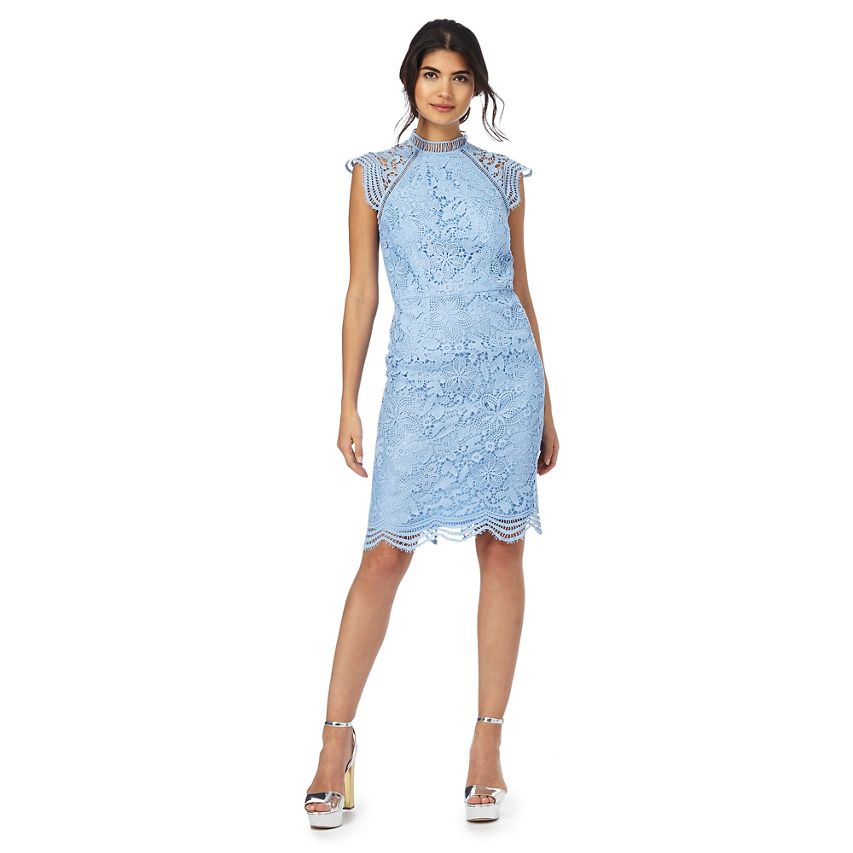 Chi Chi London Floral Lace Embroiderot Sleeves  10  18  22  26   Blau