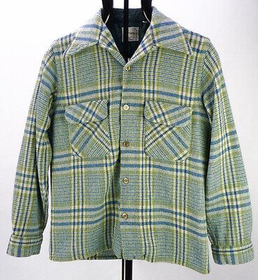 Vintage 60s Blue/Green Plaid Woven Mod Wool Rockabilly Shirt Jacket Mens S