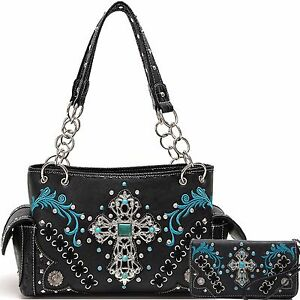 Image Is Loading Cow Trendy Western Turquoise Cross Gem Purse Handbag