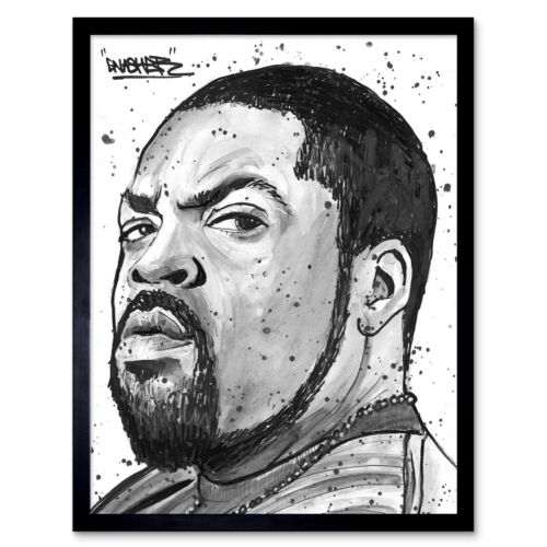 Ice Cube Rapper Painting Art Print Framed Poster Wall Decor 12X16 Inch