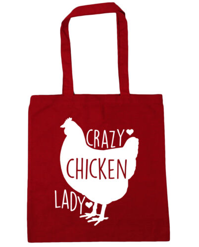 Crazy chicken lady Tote Shopping Gym Beach Bag 42cm x38cm 10 litres