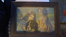 "Antique Victorian Framed Print   ""Girls with dog"""
