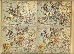 Cartina Europa 1700.1893 Storia Europa Fino Al 1700 Antica Mappa Storica Ebay