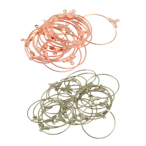 40Pcs Beading Hoop Earrings Hooks Connectors DIY Findings Platinum+Rose Gold
