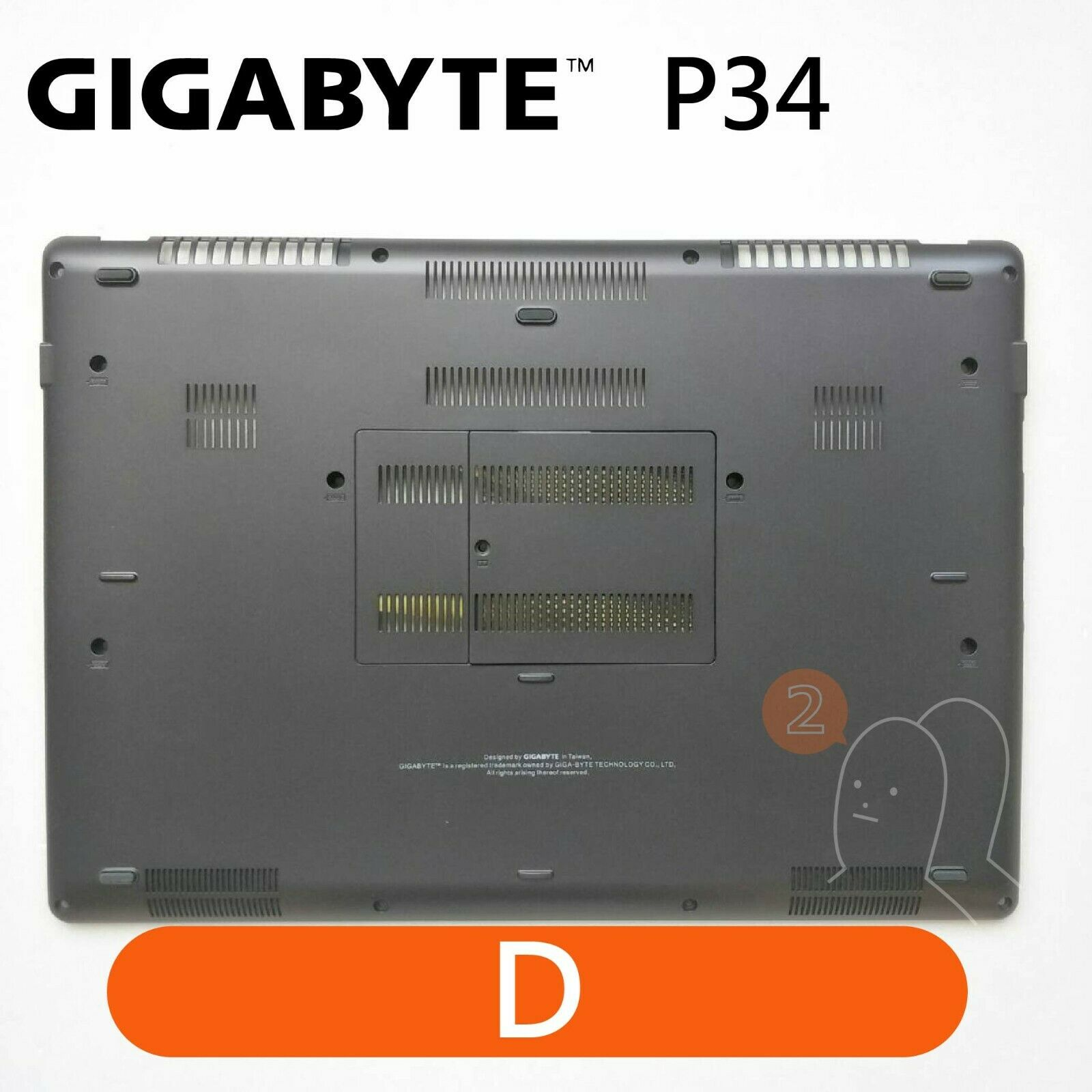 【2p3c】Replacement for GIGABYTE P34 Laptop LCD Cover : D(Bottom Base)